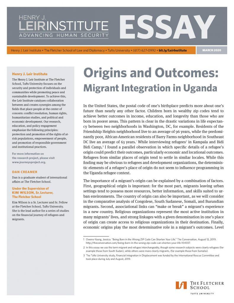 Origins and Outcomes: Migrant Integration in Uganda