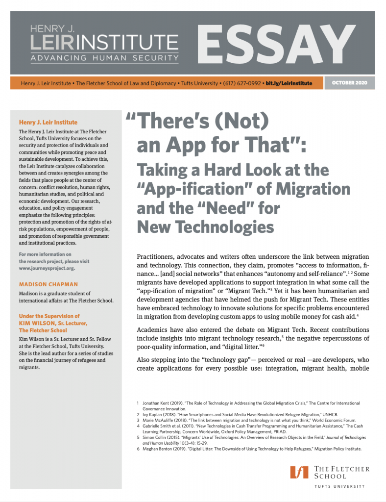 """There's (Not) an App for That"": Taking a Hard Look at the ""App-ification"" of Migration and the ""Need"" for New Technologies"
