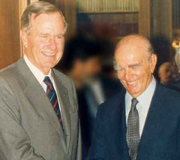 Constantine Karamanlis with George Bush