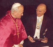 Constantine Karamanlis with Pope John Paul II