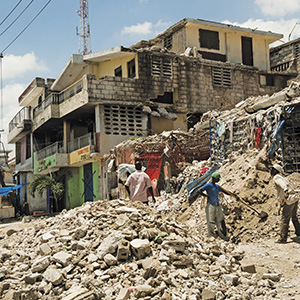 A scene from the 2010 Haitian earthquake that sent a number of the newest refugees to Lawrence.