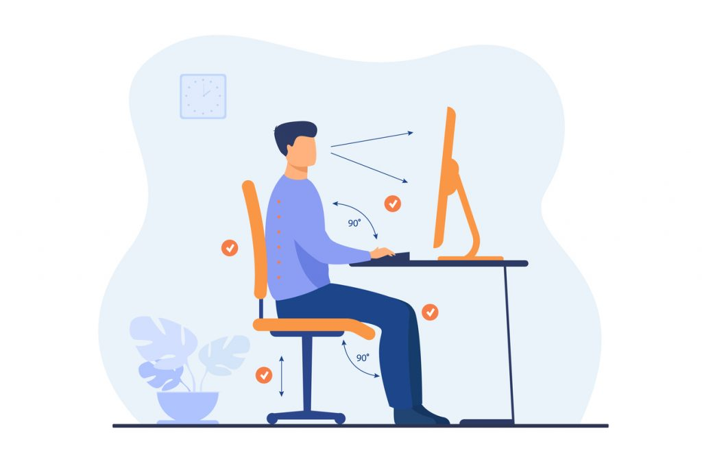 an illustration showing how to properly sit at a desk