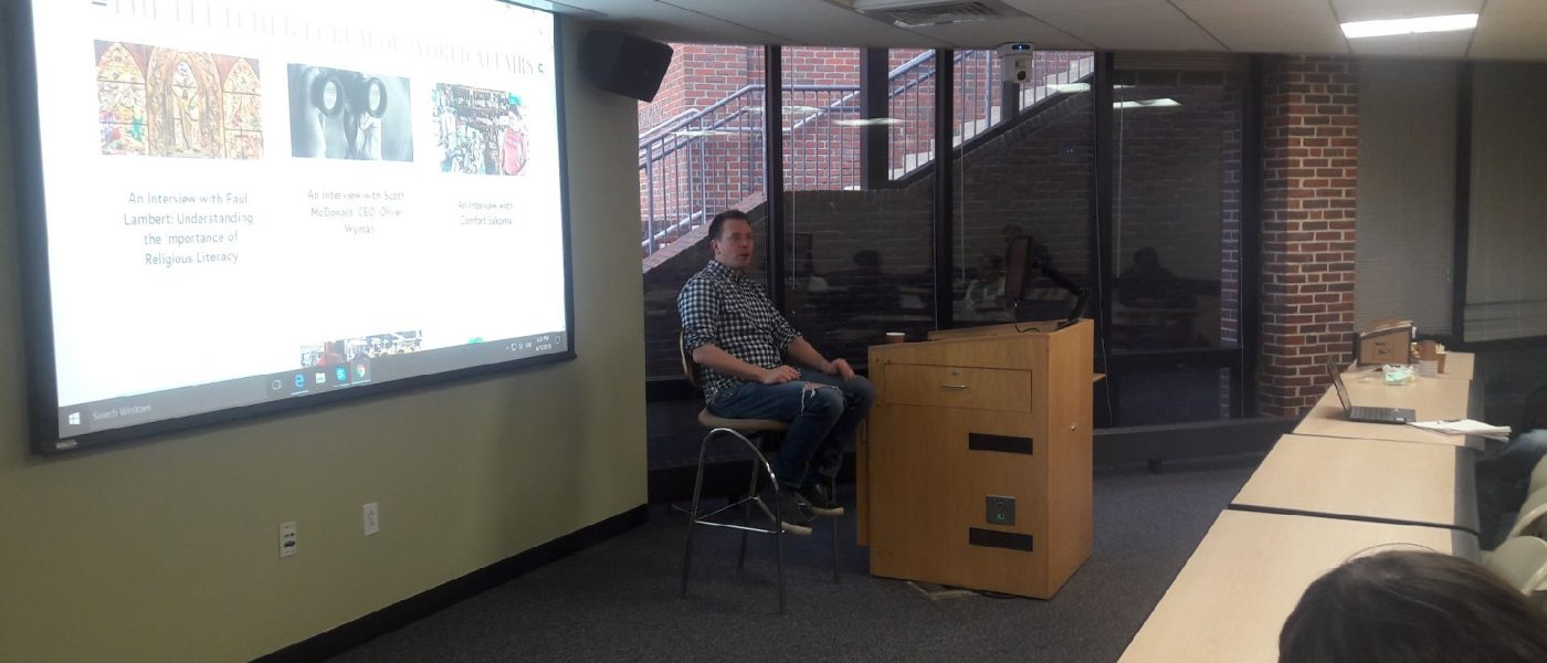 Dan Maccorone spoke to the Fletcher students on the principles of product design