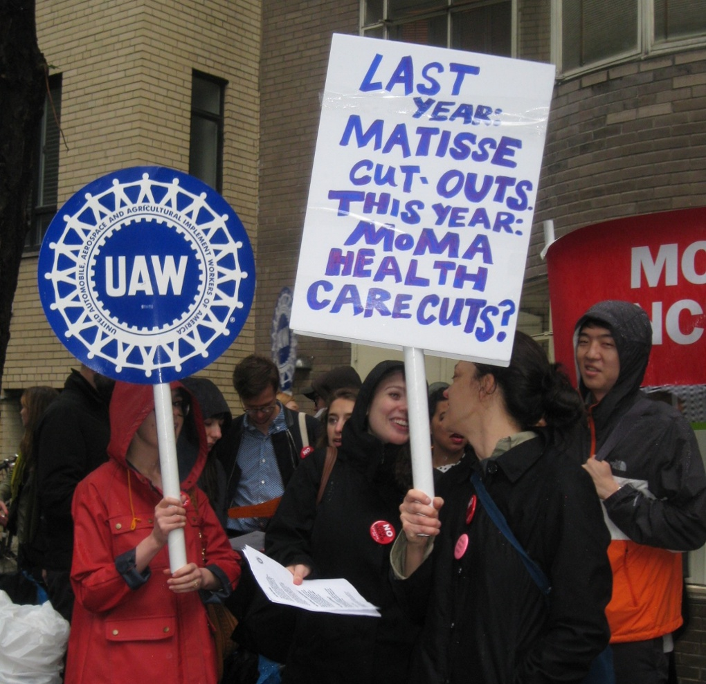 MoMa workers protest outside Party in the Garden benefit. Photograph: Stacey Anderson, from The Guardian
