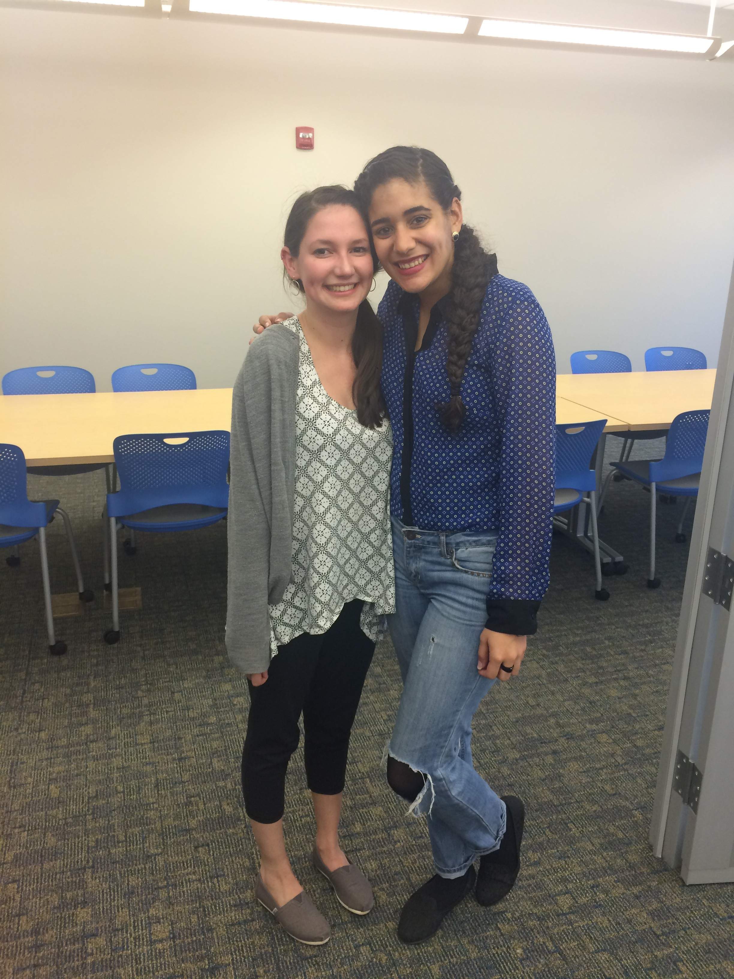 Seniors Yareliz Diaz and Victoria Oliva at HCF dessert reception