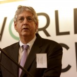 hilip Khoury, Chairman of the Board for the World Peace Foundation, speaks at the opening reception for the World Peace Foundation at the Fletcher School on Jan. 17, 2012.  (Kelvin Ma/Tufts University)