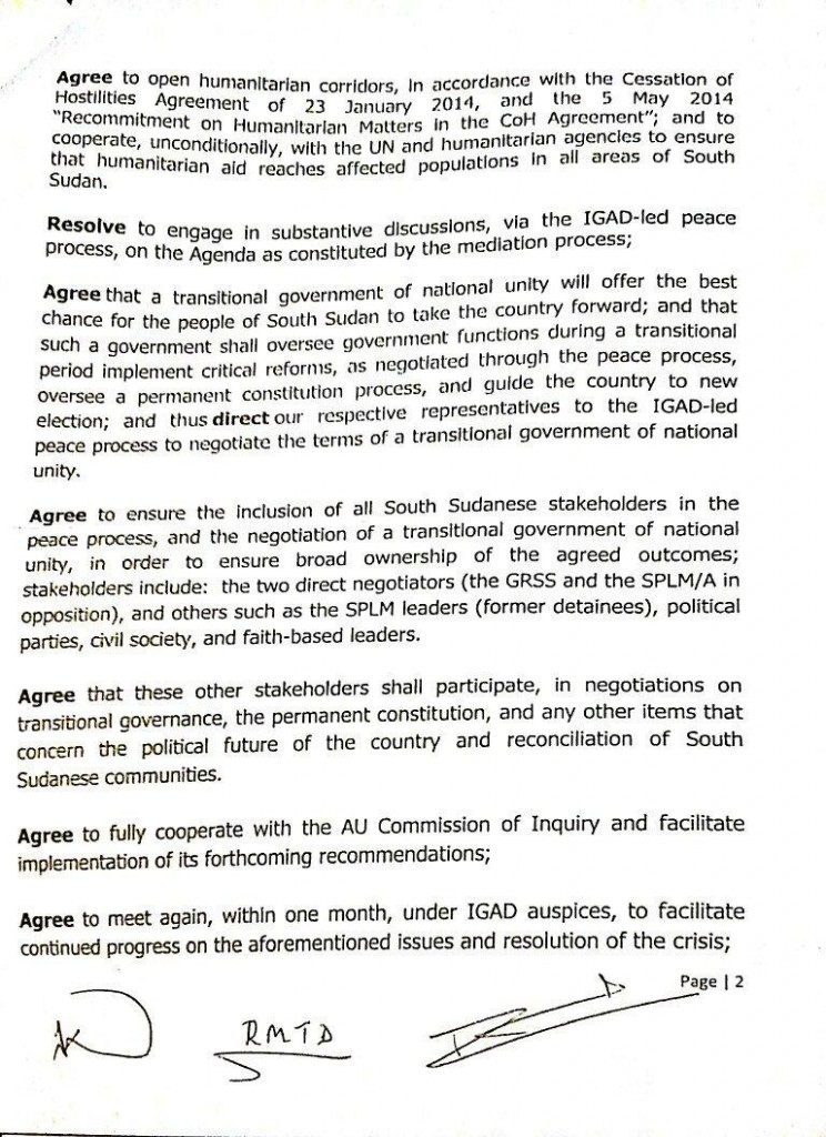 S Sudan agreement 9 May p. 2
