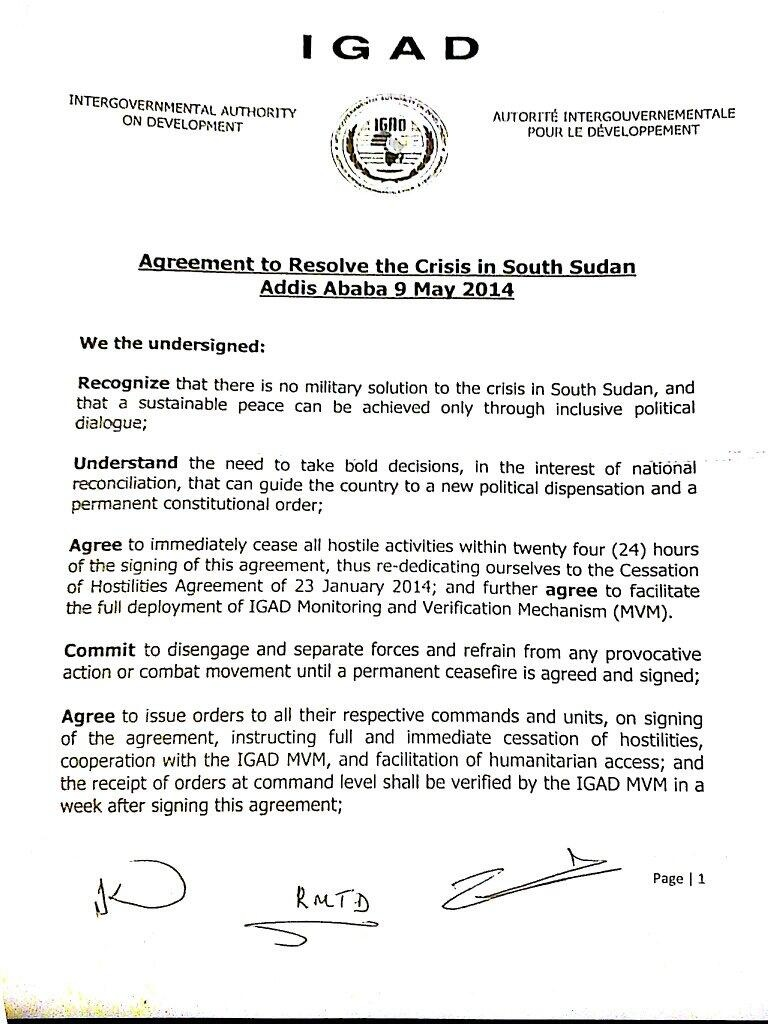 S Sudan agreement 9 May p.1
