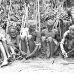 black and white photo group of ethiopian men blunting spears