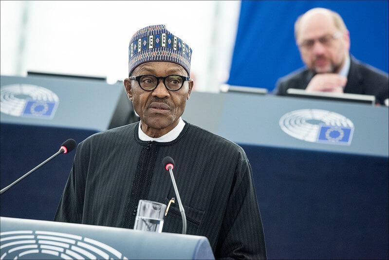 """""""Nigeria's President Muhammadu Buhari at podium"""