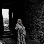 black and white photo of young eithiopian girl