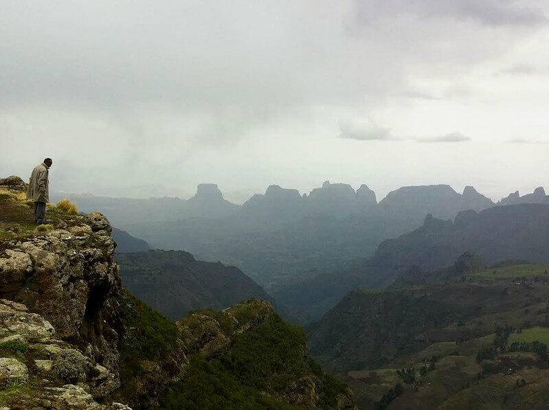 Man looks over Simien mountains