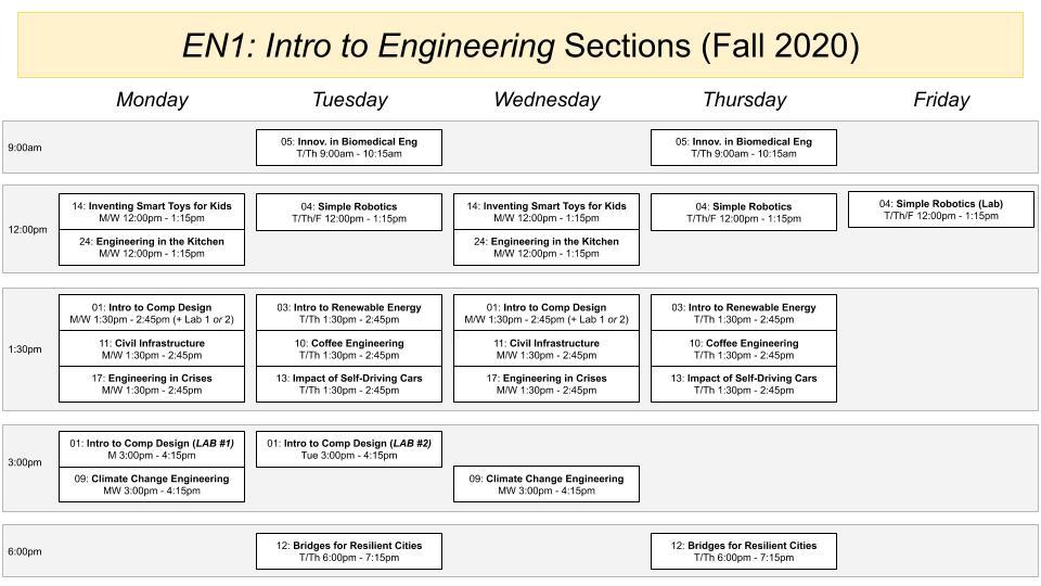 EN1 Section Schedule Fall 2020