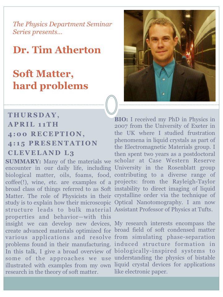 "Talk ""Soft Matter, Hard Problems"" at Mount Holyoke College | Soft"