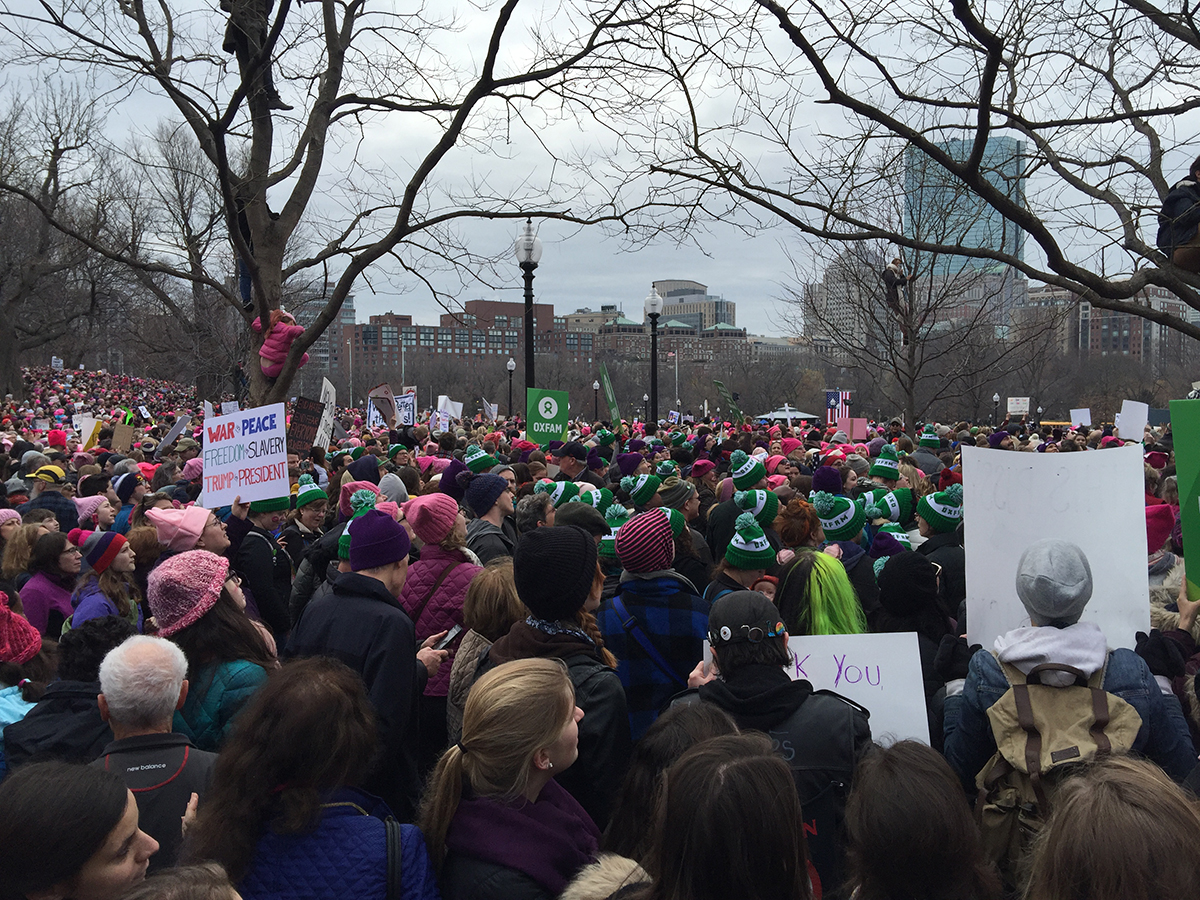 People gathered on the Boston Common for the Boston Women's March 2017 (Photo: Freedom Baird)