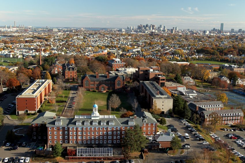 Tufts University Medford campus with a view of the Boston skyline
