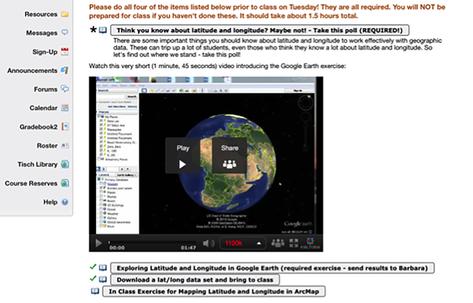 Example of session materials displayed on Trunk Lesson Builder & Google Earth video
