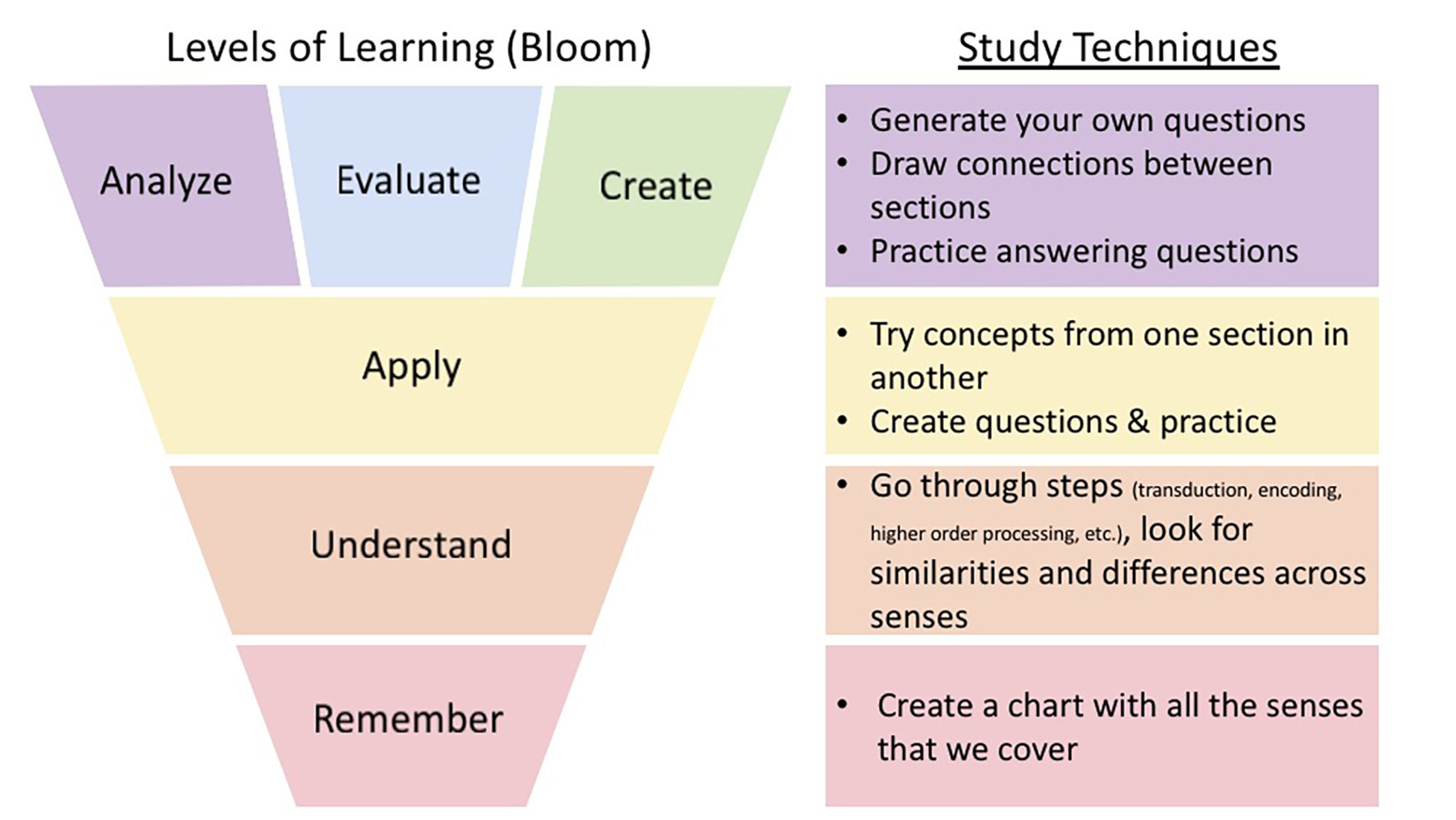 Levels of learning mapped to study techniques