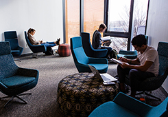 Students study in the Science and Engineering Complex on Tufts' Medford Campus (Anna Miller/Tufts University)