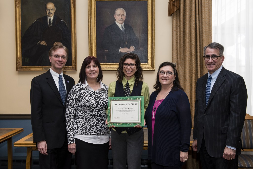 01/29/2016 - Medford/Somerville, Mass. - The Eco Ambassador and Green Office Certification Ceremony and Reception on January 29, 2016. (Alonso Nichols/Tufts University)