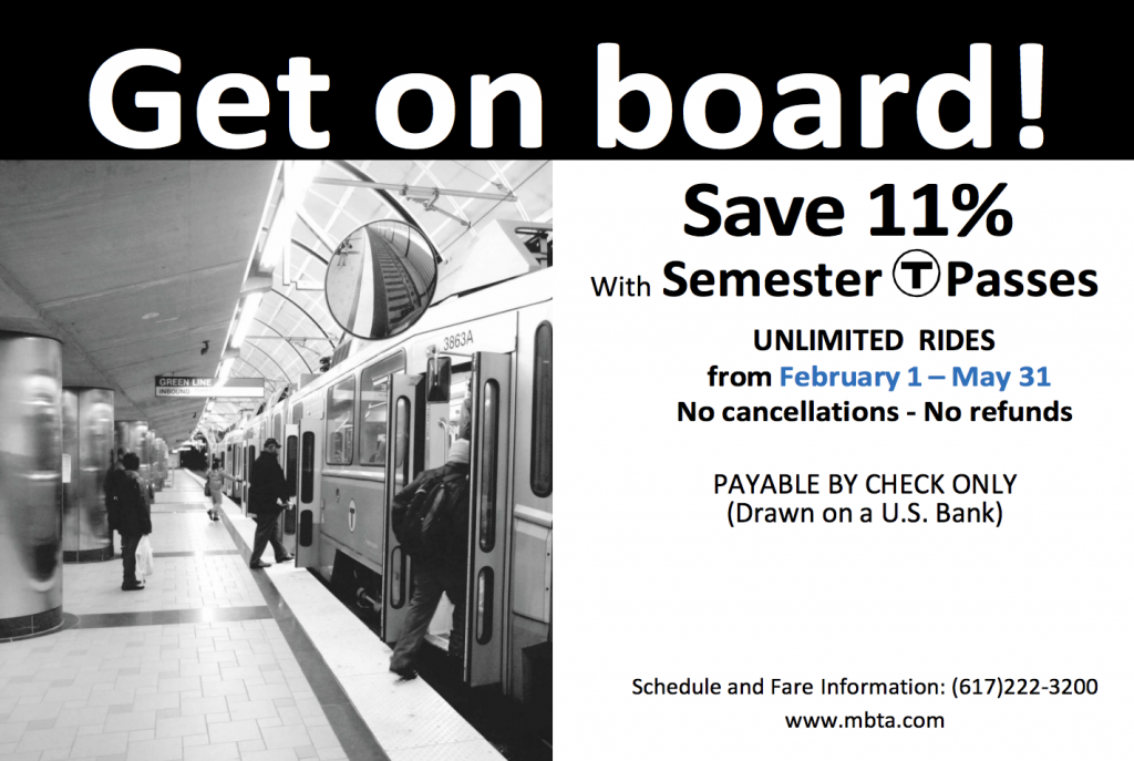 Discounted Spring Semester MBTA Passes