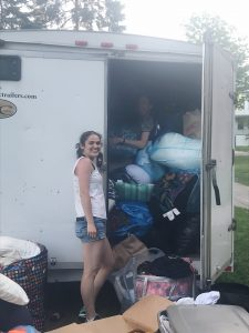 Joannie and Tina with all of the textiles donations!