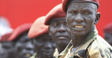 South Sudan Soldiers lined up with red berets