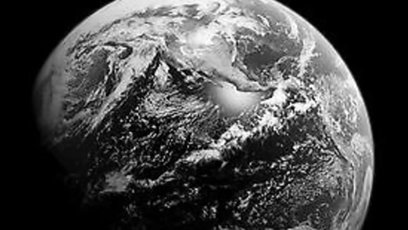 Black and white image of the earth