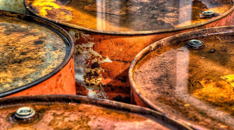 Closeup of rusty orange oil cans