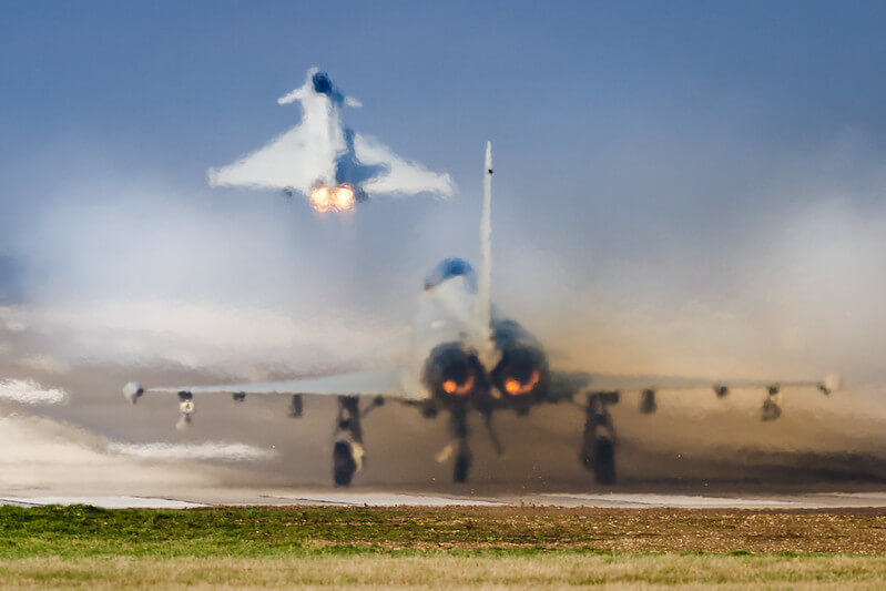 Eurofighter jets taking off