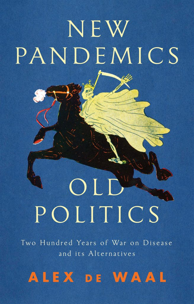 New Pandemics, old politics book cover, image of death\skeleton on horseback