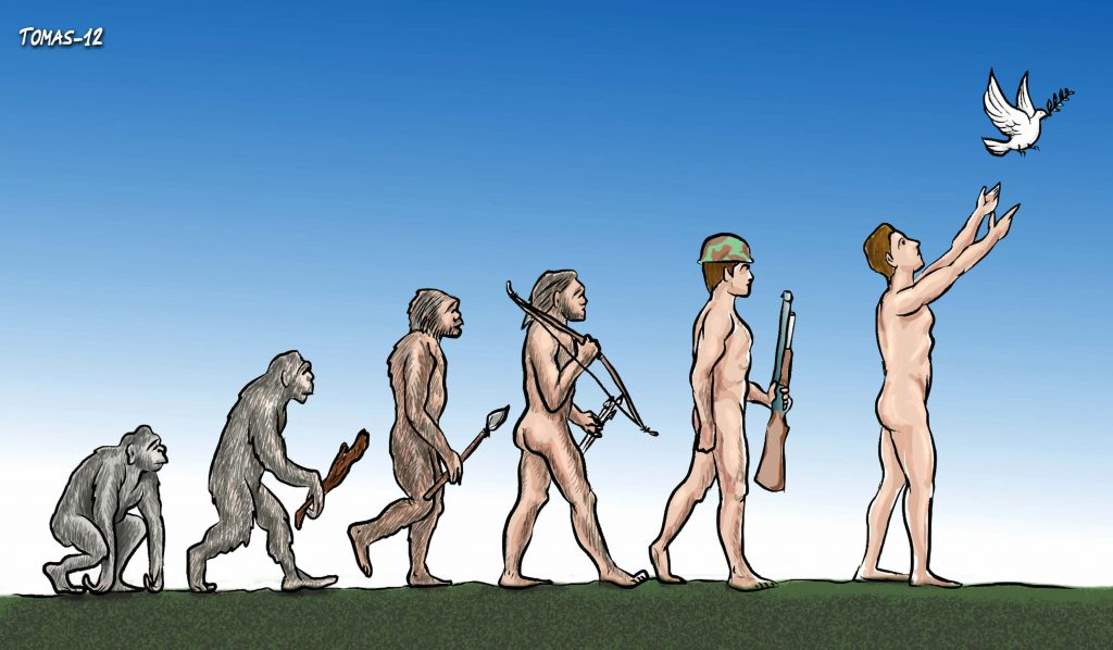 Cartoon evolution of man
