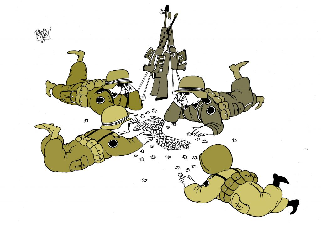 Cartoon generals working on puzzle