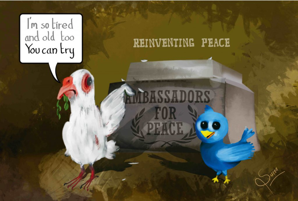 Cartoon dove & twitter bird