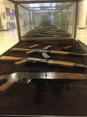 Weaponry displayed at the Amhara Region Peoples Martyrs Memorial Monument